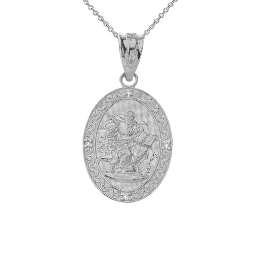 Saint Mark Oval in Sterling Silver Pendant Necklace