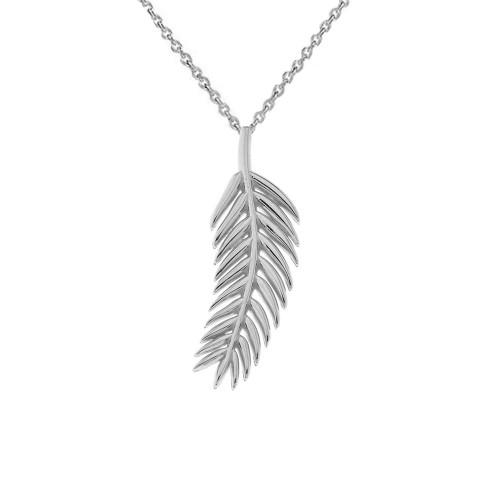 Olive Leaf in Sterling Silver Pendant Necklace