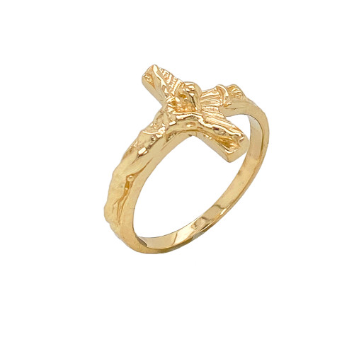 Sideways Crucifix Cross Statement Ring in Gold (Yellow/Rose/White)