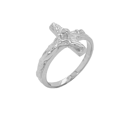 Sideways Crucifix Cross Statement Ring in Sterling Silver