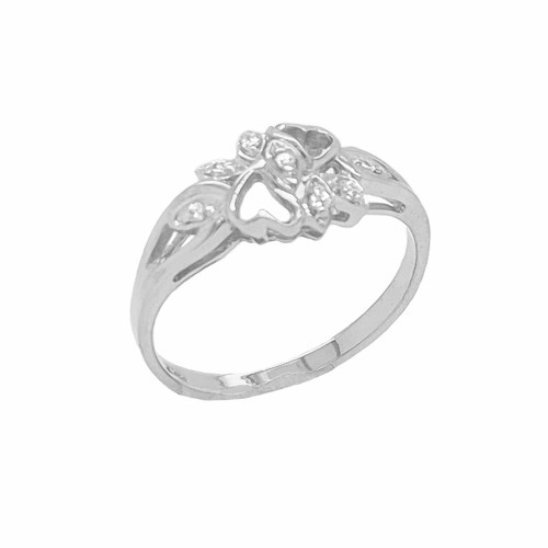 Diamond 7-Stone Double Heart Ring in Sterling Silver