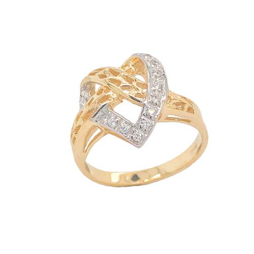 Diamond 11-Stone Crossed Heart Ring in Gold (Yellow/Rose/White)