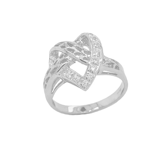 Diamond 11-Stone Crossed Heart Ring in Sterling Silver