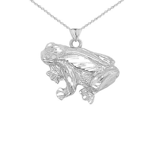 Frog Necklace Pendant in Sterling Silver