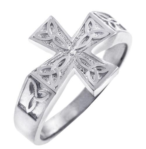 White Gold Mens Celtic Trinity Cross Ring