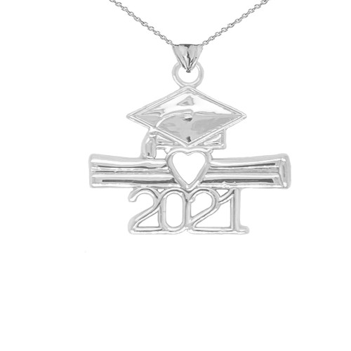 Class of 2021 Graduation Diploma & Cap Pendant Necklace in Sterling Silver