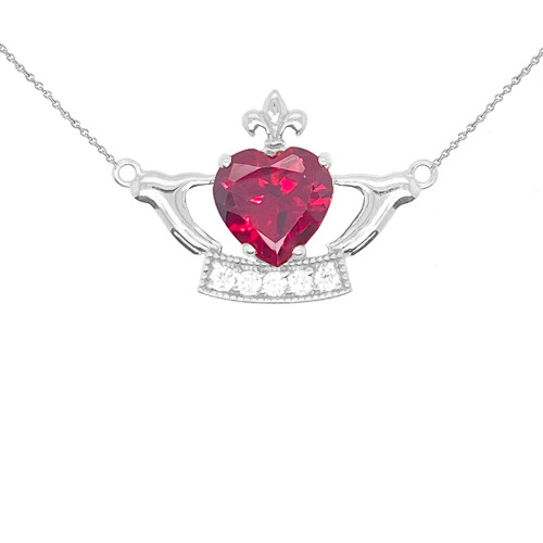 Claddagh Heart Necklace in Sterling Silver