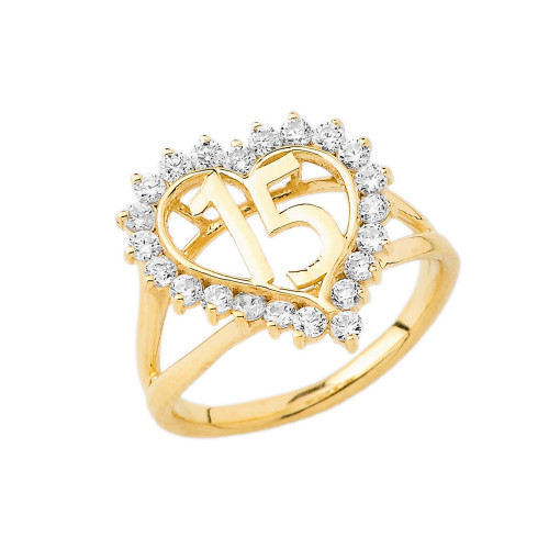 """15 """"Quinceañera"""" Ring In Gold (Yellow/Rose/White)"""