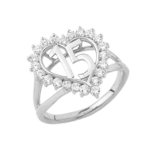 """15 """"Quinceañera"""" Ring In Sterling Silver"""