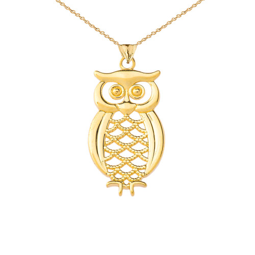 Designer Owl Pendant Necklace In Gold (Yellow/Rose/White)