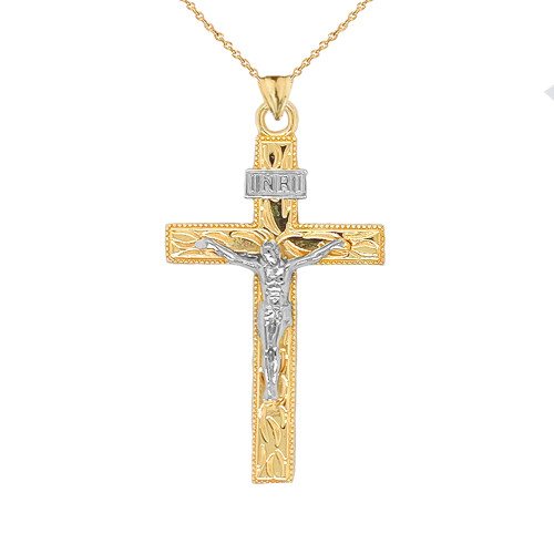 Two Tone Jesus Christ INRI Crucifix Cross Pendant Necklace in Gold (Yellow/Rose/White) (Large)