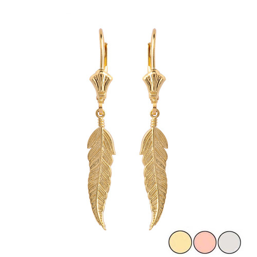 Feather Earrings in Gold (Yellow/Rose/White)