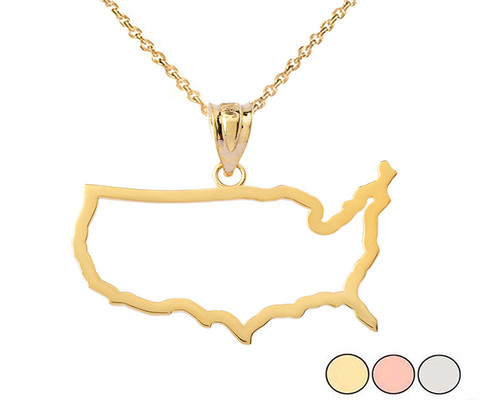 United States of America Outline Pendant Necklace in Gold (Yellow/Rose/White)