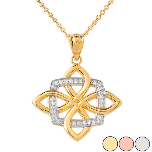 Diamond Quaternary Celtic knot  Pendant Necklace in Solid Gold (Yellow/Rose/White)