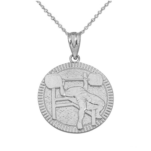 Sterling Silver Bench Press Weightlifting Medallion Pendant Necklace