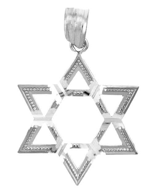 Jewish Charms and Pendants - Silver Gleaming Star of David Pendant