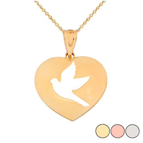 Cut-Out Dove In Heart Pendant Necklace In Gold (Yellow/Rose/White)