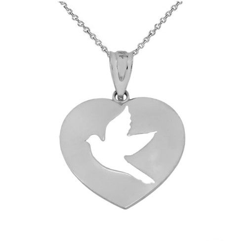 Cut-Out Dove In Heart Pendant Necklace In Sterling Silver