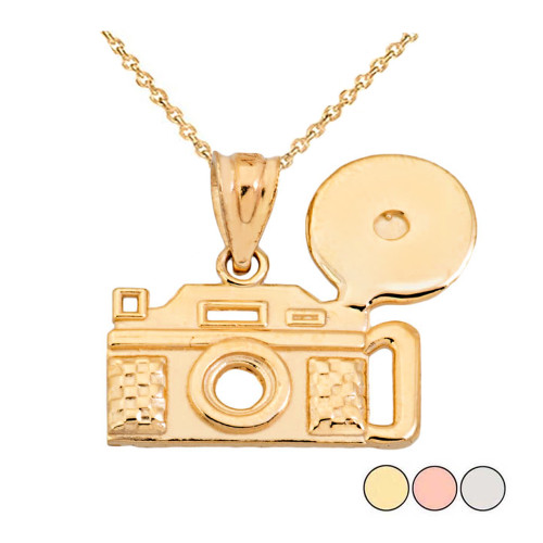Vintage Camera Pendant Necklace in Solid Gold (Yellow/Rose/White)