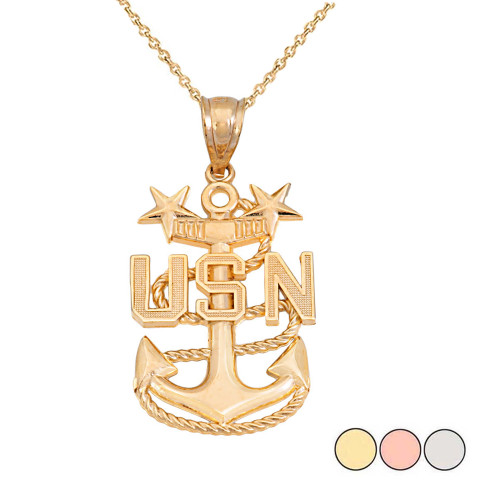 United States Navy Master Chief Petty Officer Pendant necklace in Gold (Yellow/Rose/White)