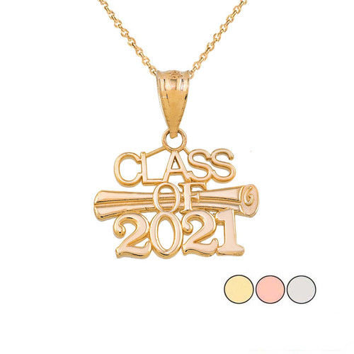 Class of 2021 Pendant Necklace in Gold (Yellow/Rose/White)