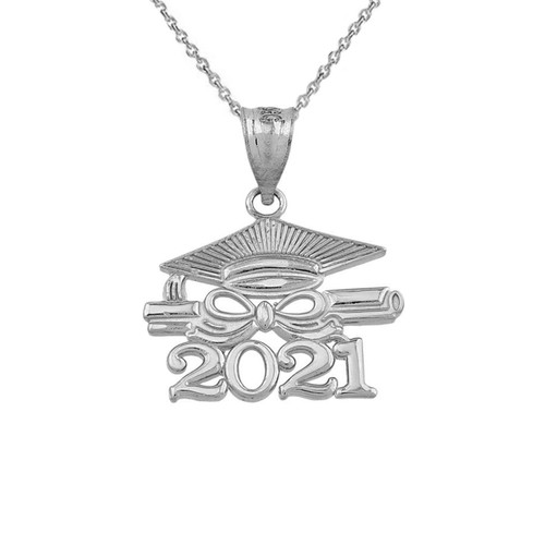 Sterling Silver Class of 2021 Graduation Diploma & Cap Pendant Necklace