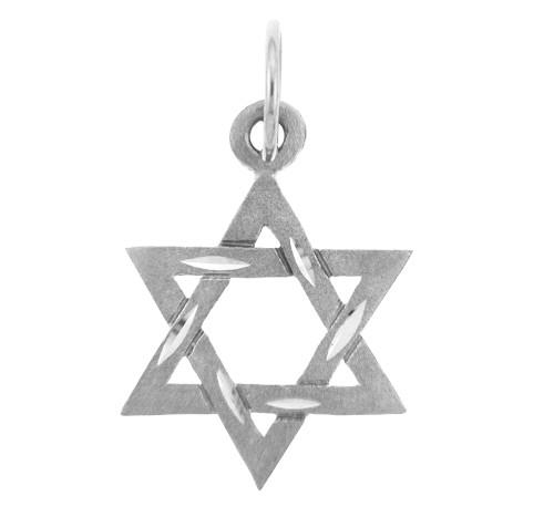 Jewish Charms and Pendants - 14K White Gold Diamond Cut Star of David Pendant