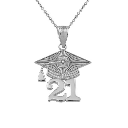 Sterling  Silver 2021 Graduation Cap Pendant Necklace