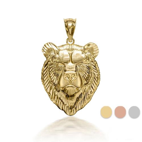 3D 10k/14k Gold Bear Pendant Necklace (YELLOW/ROSE/WHITE)