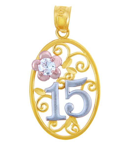 Gold Pendants - Sweet 15 Años Quinceanera Pendant with Cubic Zirconia