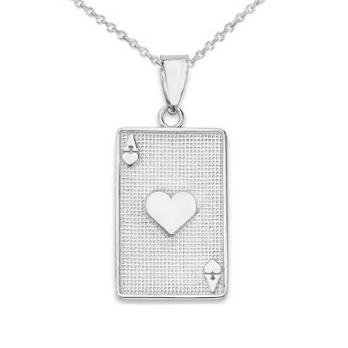 Ace of Hearts Card Pendant Necklace in Sterling Silver