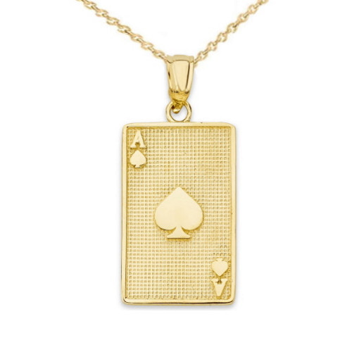 Ace of Spades Card Pendant Necklace in Gold (Yellow/Rose/White)