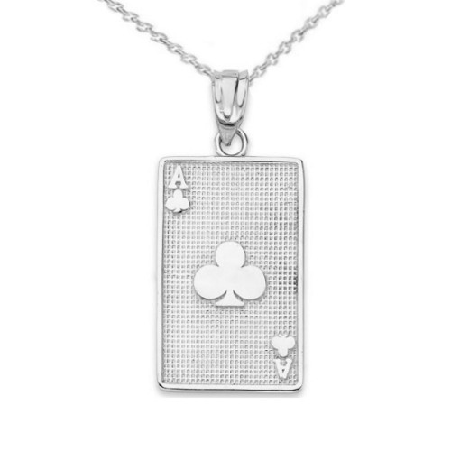 Ace of Clubs Card Pendant Necklace in Sterling Silver