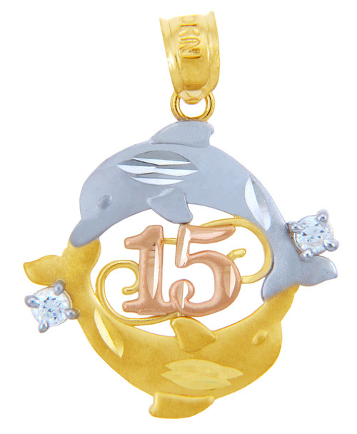 Gold Pendants - Sweet 15 Años - Quinceanera Two Dolphin Pendant with Cubic Zirconia