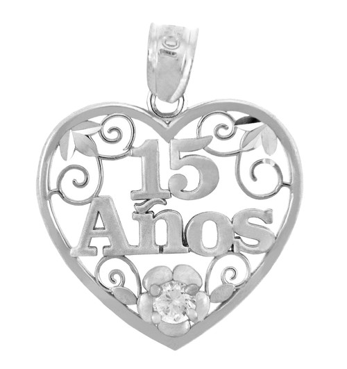 Sterling Silver Sweet 15 Años Quinceanera Pendant Heart with Cubic Zirconia