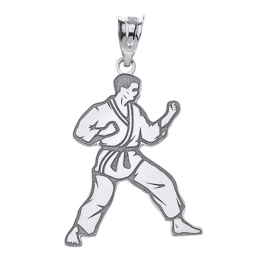 Personalized Engravable Silver Karate Martial Arts Pendant Engraved with Your Personalized Name