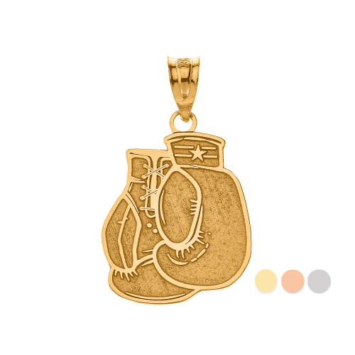 Personalized Engravable Gold Boxing Gloves Charm Necklace with Your Name(Yellow/Rose/White)