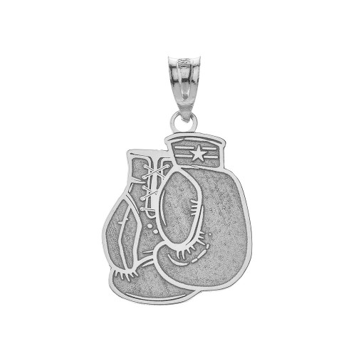 Personalized Engravable Silver Boxing Gloves Charm Necklace with Your Name