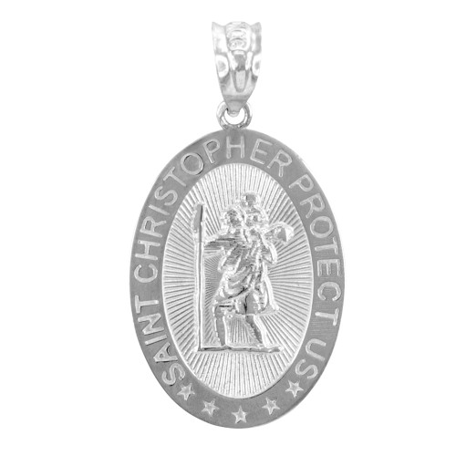 Gold Religious Pendants - The Saint Christopher Protect Us Oval White Gold Pendant