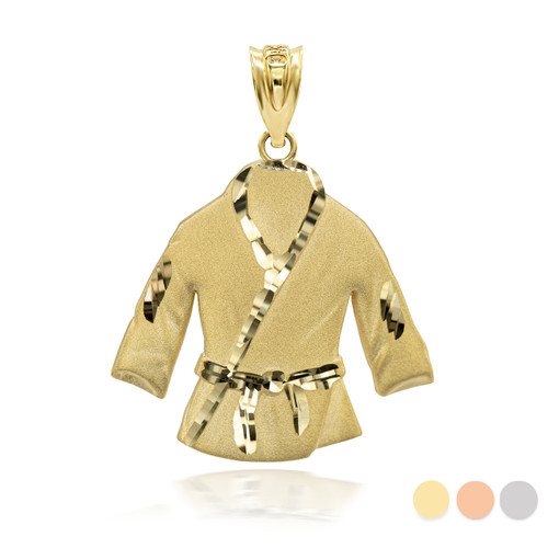 Gold Martial Arts Karate Robe 3D Charm Necklace (Available in Yellow/Rose/White Gold)