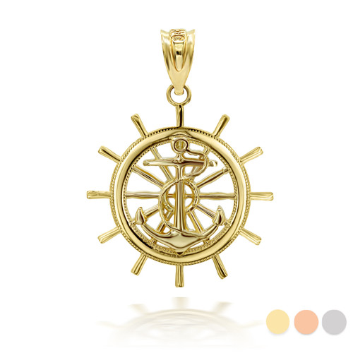 Gold Ship Wheel 3D Charm Necklace (Available in Yellow/Rose/White Gold)