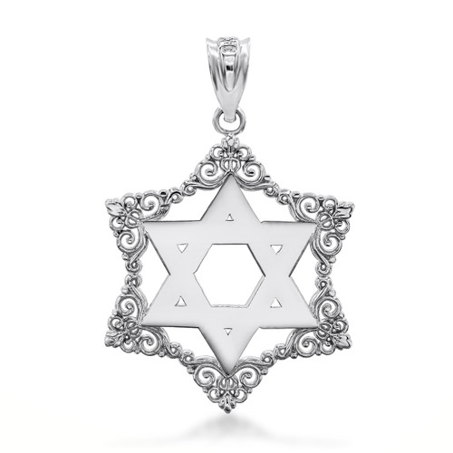 Sterling Silver Decorated Star Of David Charm Necklace