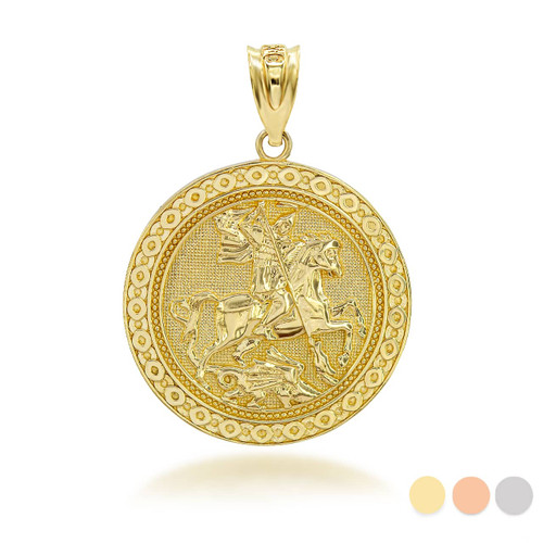 Gold Saint George Dragon Hunter 3D Charm Necklace (Available in Yellow/Rose/White Gold)
