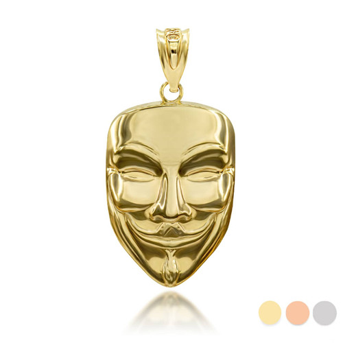 Gold Anonymous Mask 3D Charm Necklace (Available in Yellow/Rose/White Gold)
