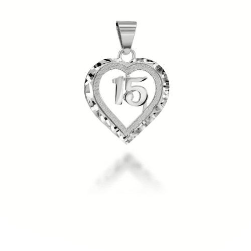 Sparkle Cut 15 Anos Heart Pendant Necklace  in  Sterling Silver
