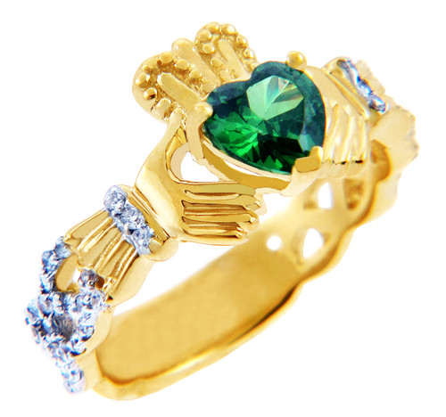 Gold Diamond Claddagh Ring 0.40 Carats with Emerald Colored Stone