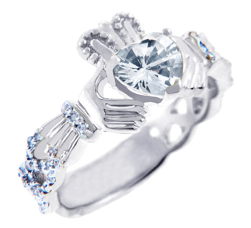 White Gold Diamond Claddagh Ring 0.40 Carats with Clear Stone