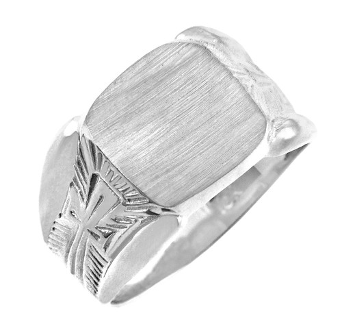 The Protector Solid White Gold Signet Ring