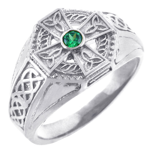 Men's Celtic Band- Silver Celtic Ring Mens with Emerald