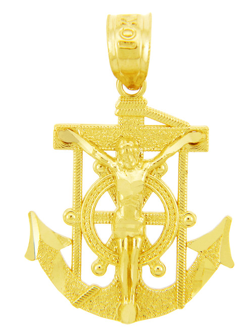 Religious Charms - The Mariners Anchored Cross Gold Pendant